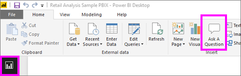 Select Ask A Question in Power BI Desktop
