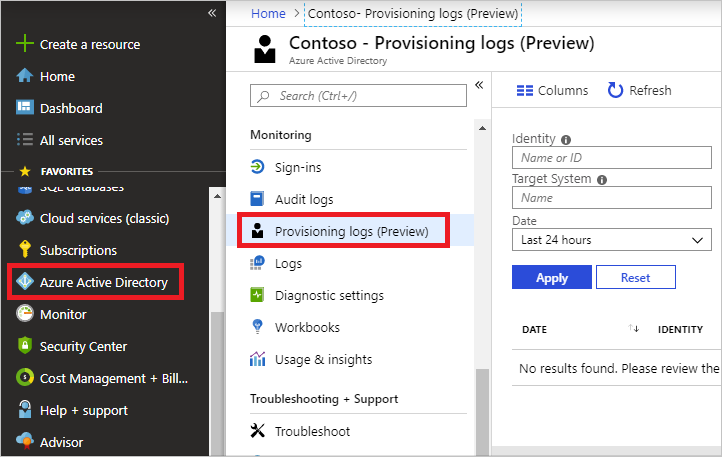 Screenshot that shows selections for accessing provisioning logs.