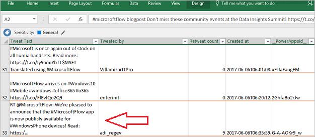 Lijst met tweets in Excel
