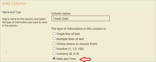 Kolom Datum en tijd