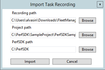 Performance sdk and multiuser testing via visual studio online import task recording dialog box ccuart Images