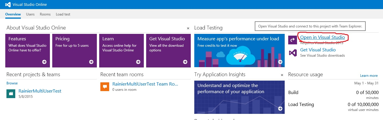 Performance sdk and multiuser testing via visual studio online open in visual studio ccuart Choice Image