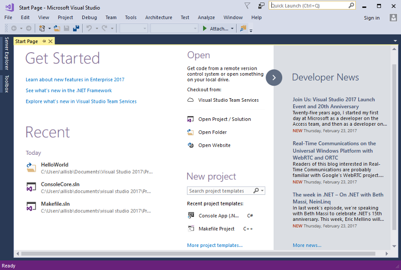 Informacje o wersji 150 programu visual studio 2017 start page with get started and news ccuart Gallery