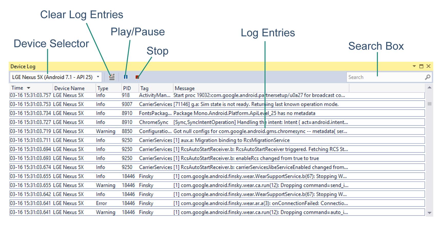 Dziennik Debugowania Systemu Android Xamarin Microsoft Docs