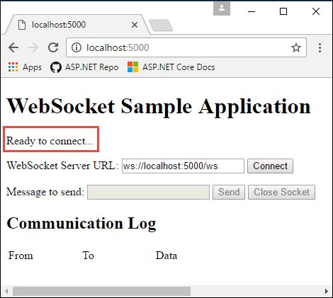 Estado inicial da página da Web antes da conexão webSockets
