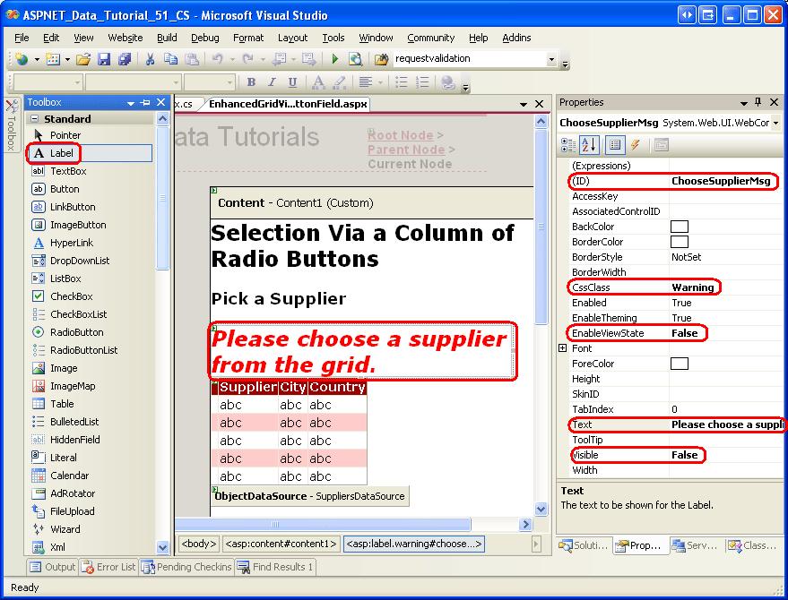 Adicionando uma coluna de GridView de botões de opção (c
