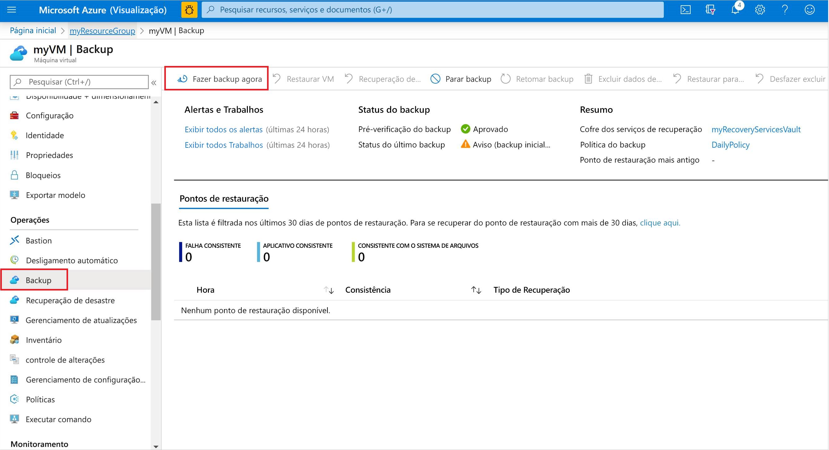 Executar backup imediato de VM no portal do Azure