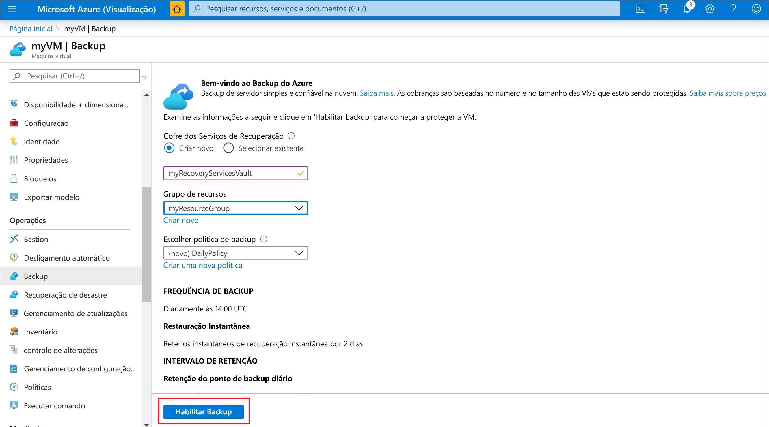 Habilitar o backup de VM no portal do Azure