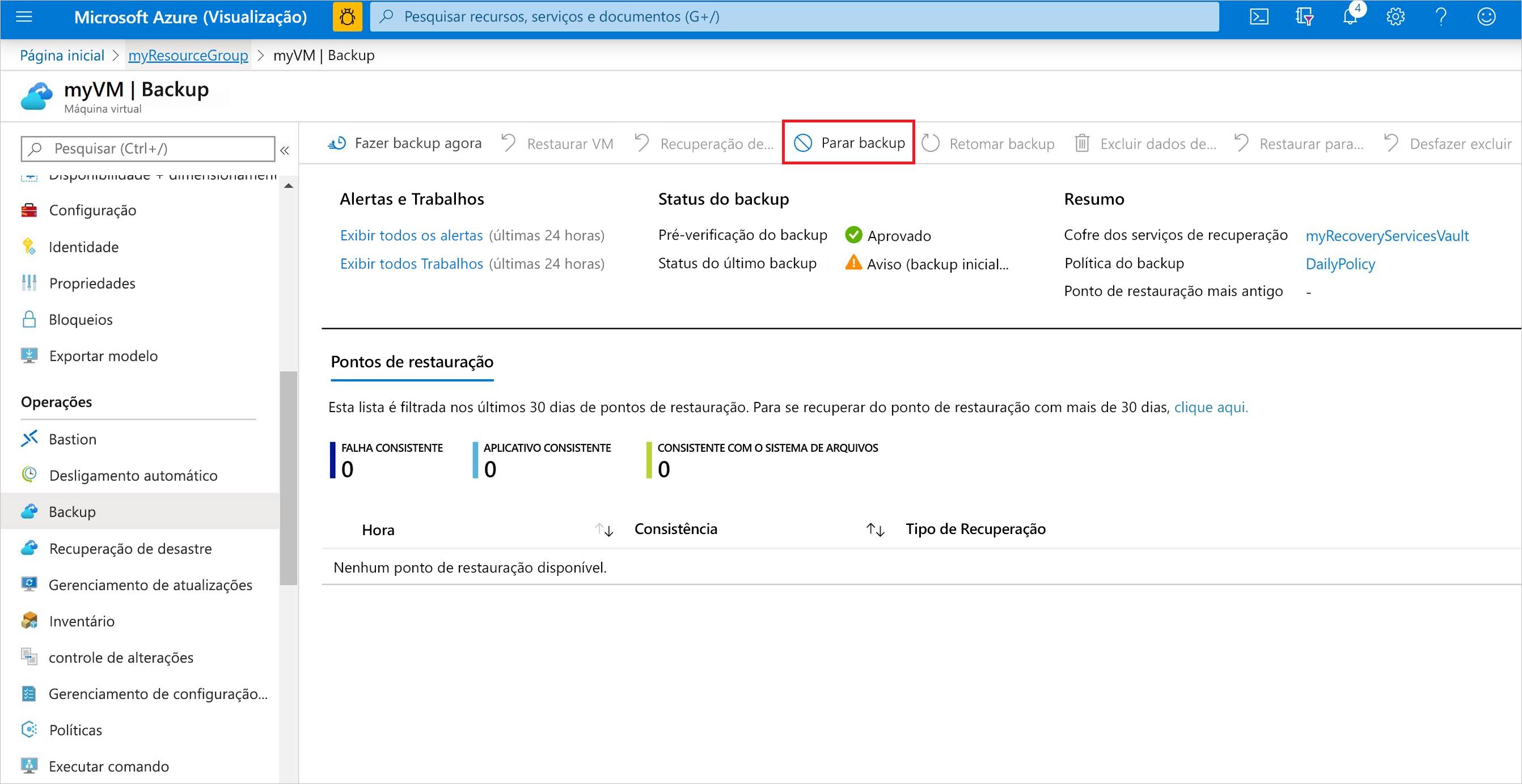 Interromper um backup de VM do portal do Azure
