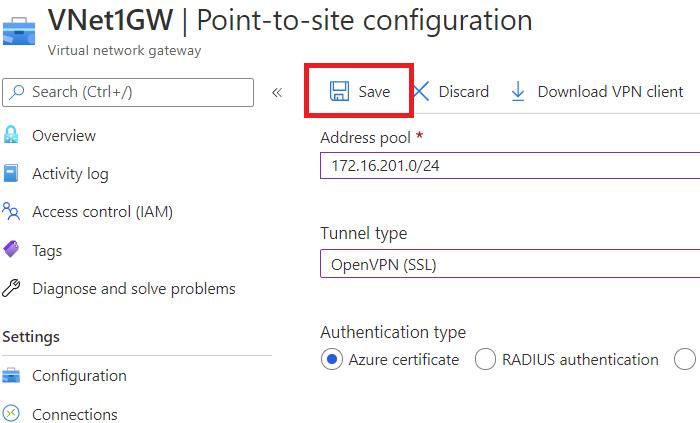Conectar um computador a uma rede virtual do Azure usando