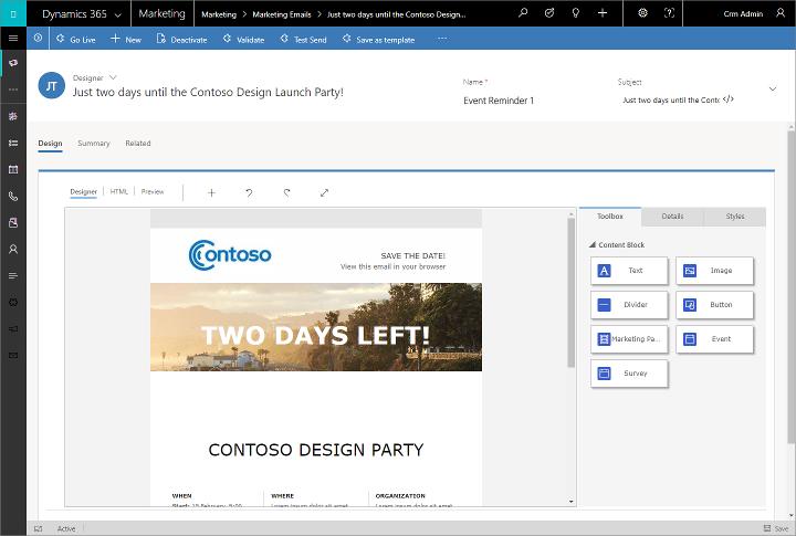 Captura de tela do designer de email