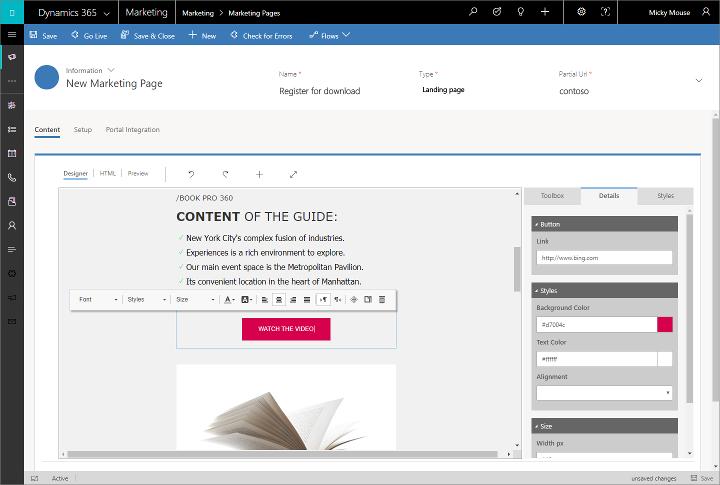 Captura de tela do designer de página de marketing