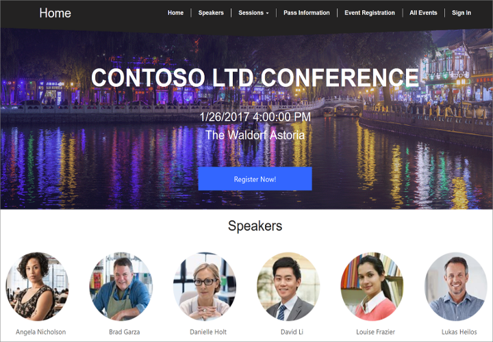 Captura de tela do site de eventos