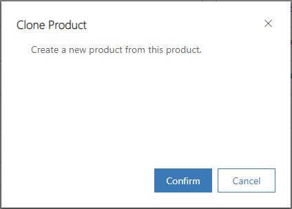 Caixa de diálogo de confirmação para clonar produto