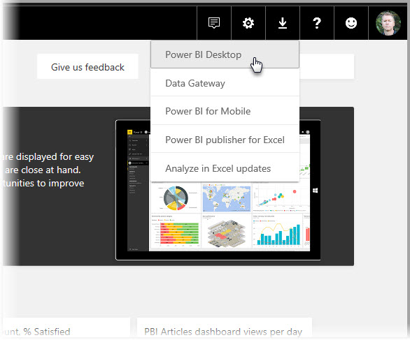Instalar o Power BI Desktop do serviço do Power BI