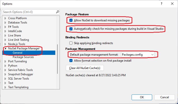 Solucionando problemas de restauração de pacote do NuGet no
