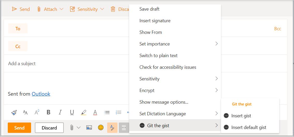 Uma captura de tela do formulário de composição da mensagem no Outlook na Web com o botão suplemento e o menu pop-up realçado