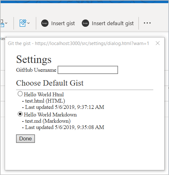 Captura de tela de caixa de diálogo de configurações do suplemento