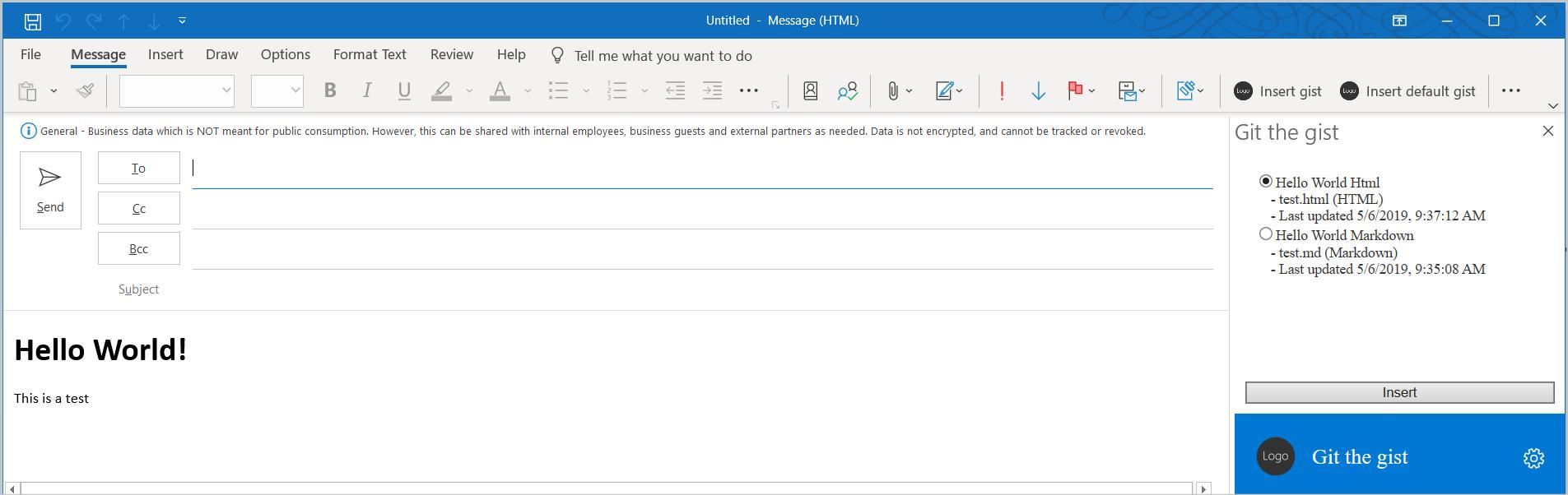 Captura de tela do painel de tarefas do suplemento