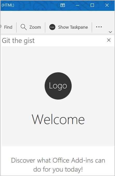 Captura de tela do botão e do painel de tarefas adicionado pela amostra