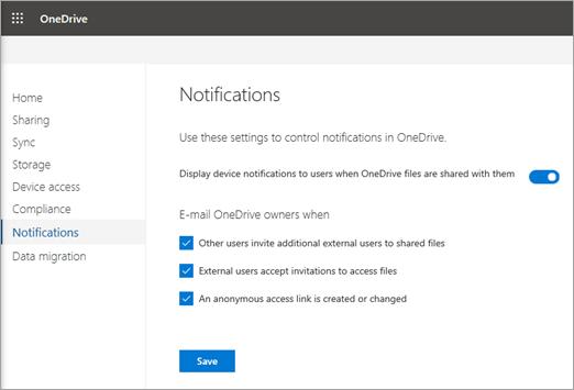 Ativar notificaes de compartilhamento externas para onedrive na guia notificaes do centro de administrao do onedrive stopboris Gallery