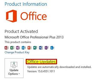 Atualizações do Office para a versão clique para executar