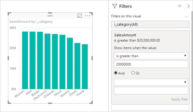 Visual mostrando medidas que contêm filtros