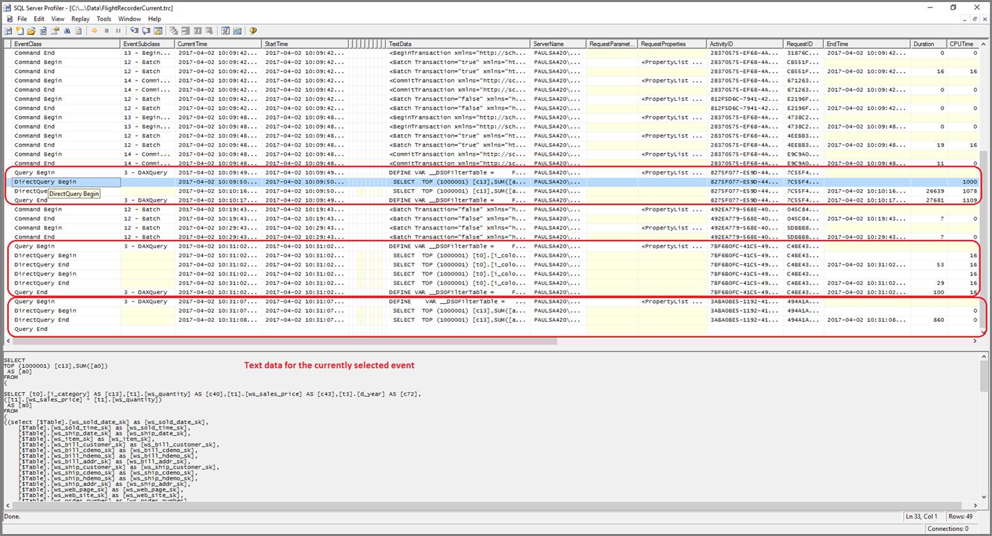 SQL Server Profiler com os eventos Query Begin e Query End