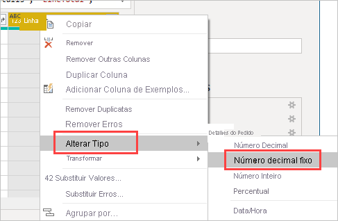 Alterar tipo de dados para decimal fixo