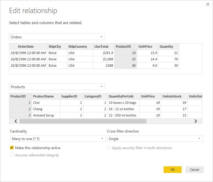 Caixa de diálogo Editar Relação