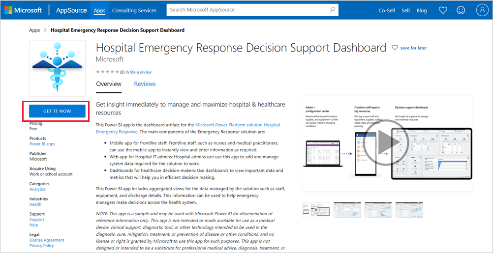 Conectar Se Ao Dashboard De Suporte A Decisões De Resposta A Emergências Hospitalares Power Bi Microsoft Docs