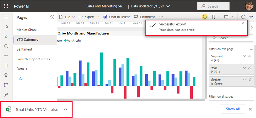 Arquivo exportado sendo exibido no navegador Microsoft Edge