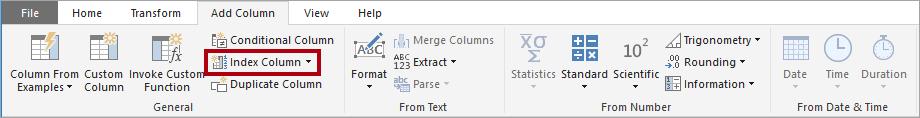 Criar coluna de índice na barra de ferramentas do Power Query