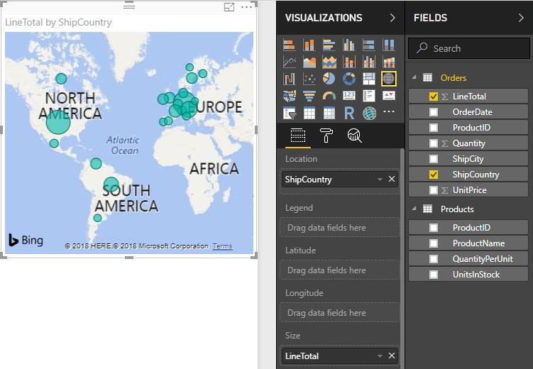 Visualização de mapa LineTotals por ShipCountry