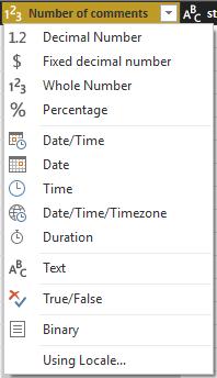 Alterar tipo de dados
