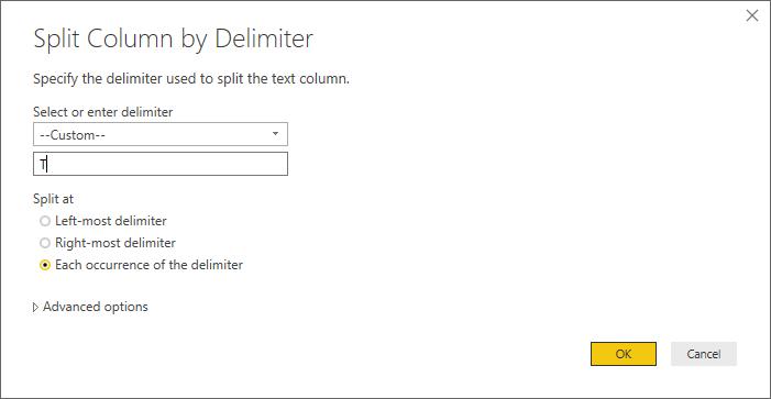 Caixa de diálogo Dividir Coluna por Delimitador