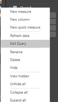 Editar consulta na lista Fields
