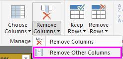 Faixa de opções Remover Outras Colunas
