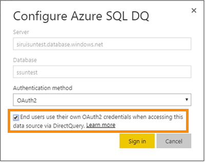 Configure as caixa de diálogo DQ do SQL do Azure