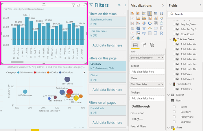 Editor de relatório do Power BI