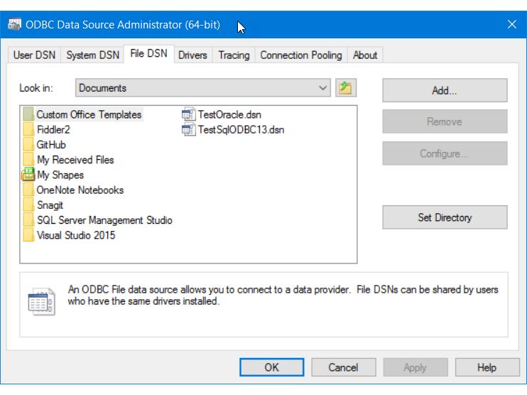 Adicionar um novo DSN de arquivo ODBC