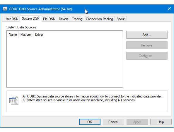 Adicionar um novo DSN de sistema ODBC