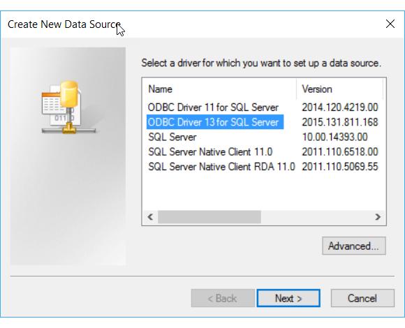 Criar uma nova fonte de dados ODBC