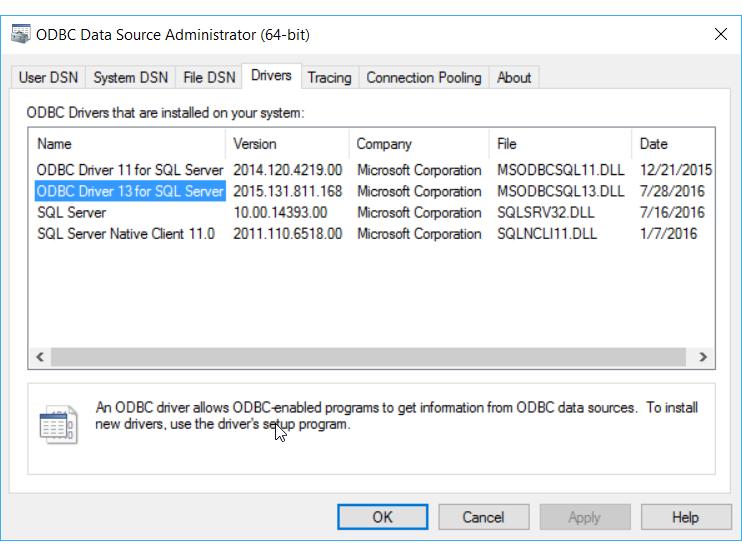 Drivers ODBC de 64 bits instalados