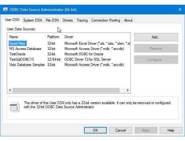 Miniaplicativo de painel de controle do Administrador de ODBC