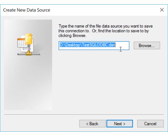 Salvar o novo DSN de arquivo