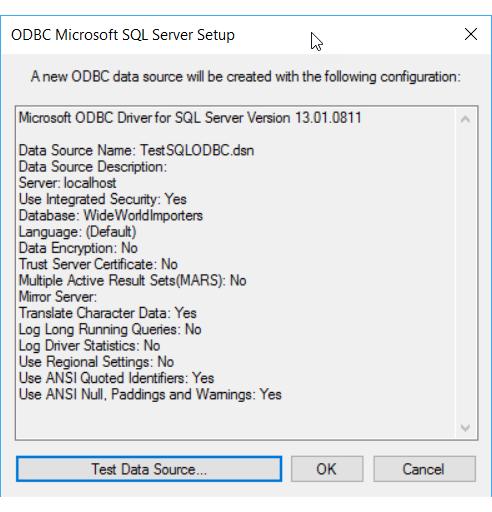 Testar o novo DSN de arquivo