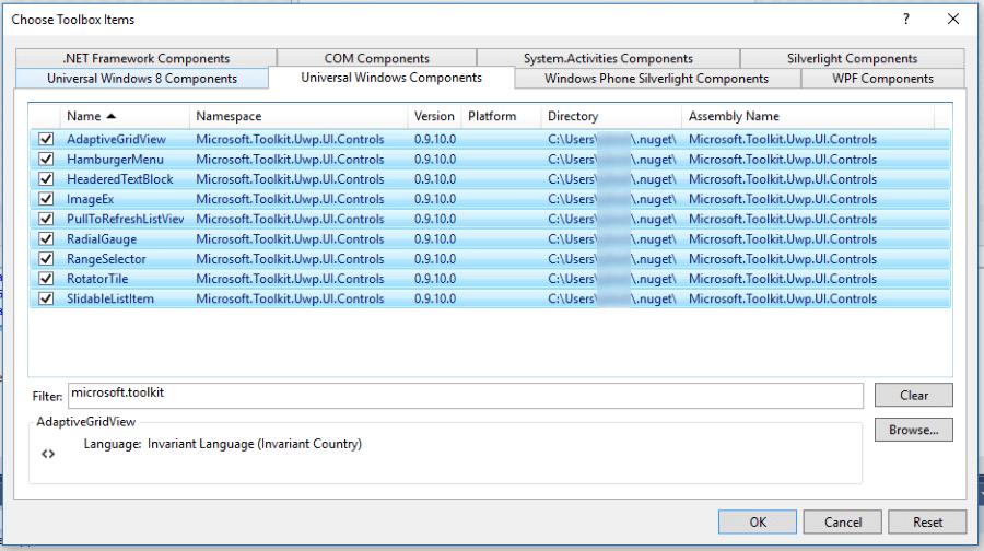 Windows Community Toolkit controls in the Visual Studio
