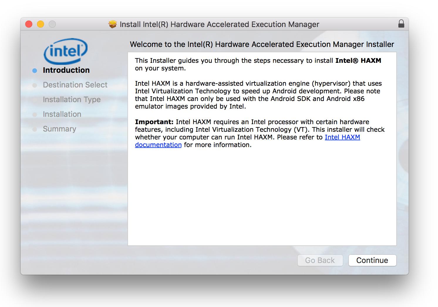 Android Emulator Intel Haxm Mac