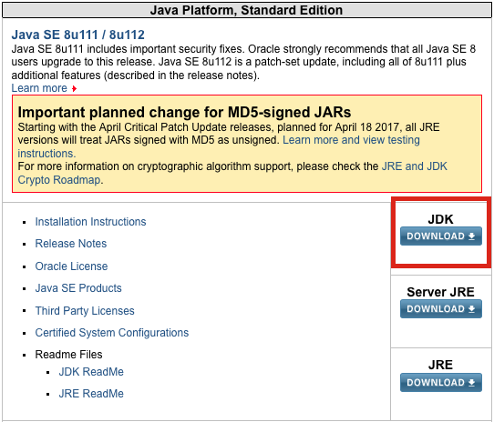 Como fao para atualizar a verso do java development kit jdk captura de tela do jdk pgina de download no site da oracle stopboris Images
